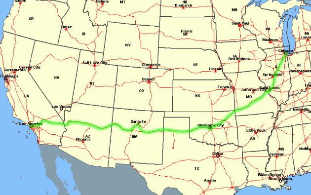 Streckenverlauf Der Route 66